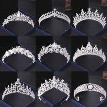 Accesorios para el pelo de la corona de la boda del diamante de imitación de cristal Tiaras y corona de la novia de la boda de las mujeres