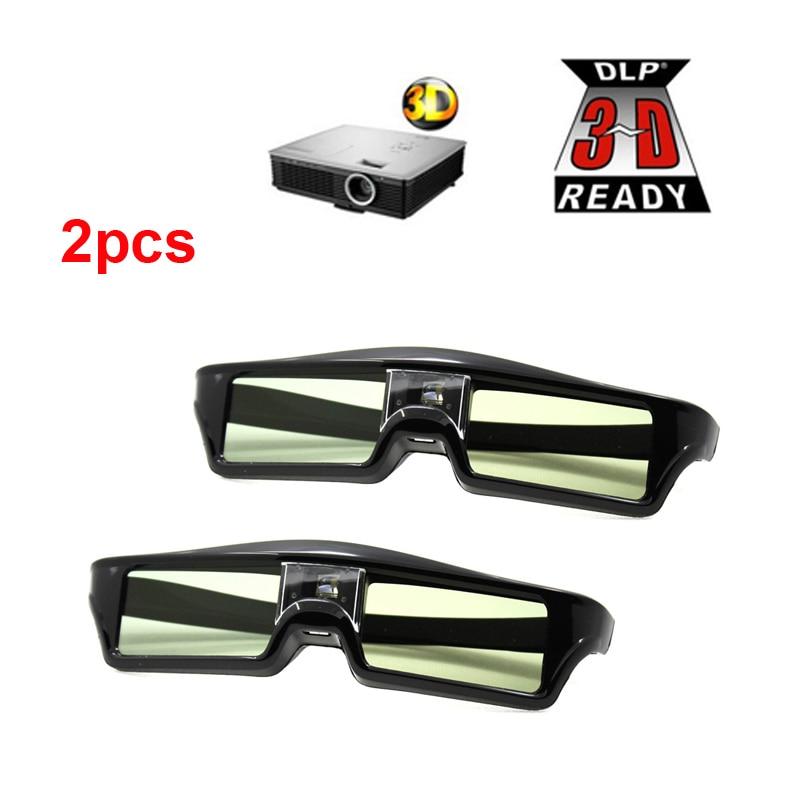 2pcs 3D Active Shutter Glasses DLP-LINK 3D glasses for Xgimi Z4X/H1/Z5 Optoma Sharp LG Acer H5360 Jmgo BenQ w1070 Projectors m полюсов xgimi dlp link жидкокристаллический затвор 3d очки универсальный проектор
