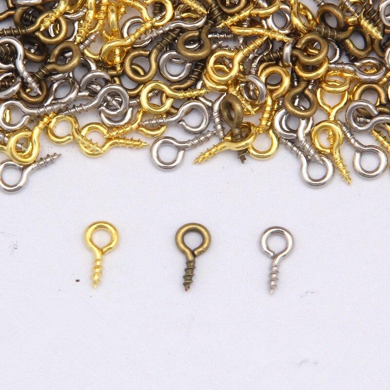 200ps 4x8/5x10mm Mini Eye Pins Eyepins Hooks Eyelets Screw Threaded Metal Jewelry Pendant Clasps DIY Jewelry Making Accessories магнитные материалы 10 n50 diy 5x10mm sku144166