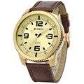 Top marca de luxo curren Data de exibição pulseira de couro genuíno relógio de quartzo de Negócios Gents 8180 Relojs De Marca relógios de Pulso dos homens