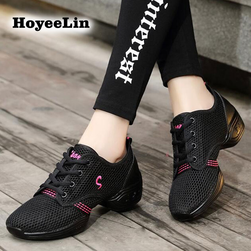HoYeeLin Jazz Shoes Women's Breathable Mesh Soft Outsole Modern Dance Sneakers Lightweight Dancing Practice Fitness Shoes