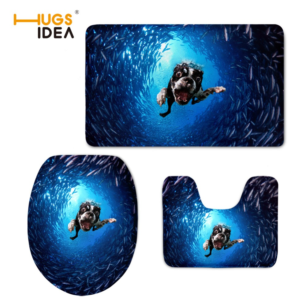 3pcs / set 욕실 세트 변기 쿠션 따뜻한 카펫 화장실 시트 커버 매트 소프트 인쇄 개 사각 시트 오버코트 화장실 케이스
