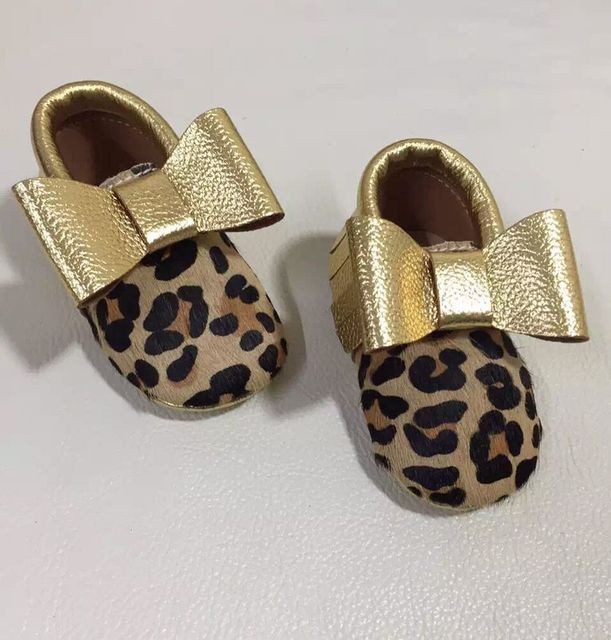 new arrival genuine leather leopard baby moccasins with bow-tie Toddler Baby girls boys shoes soft sole first walkers