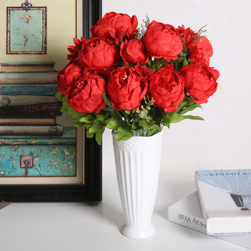 Luyue Vintage Artificial Peony Silk Peonies Fake Flowers Wedding Bouquet Home Floral Decor -Vintage Red Pack of 1
