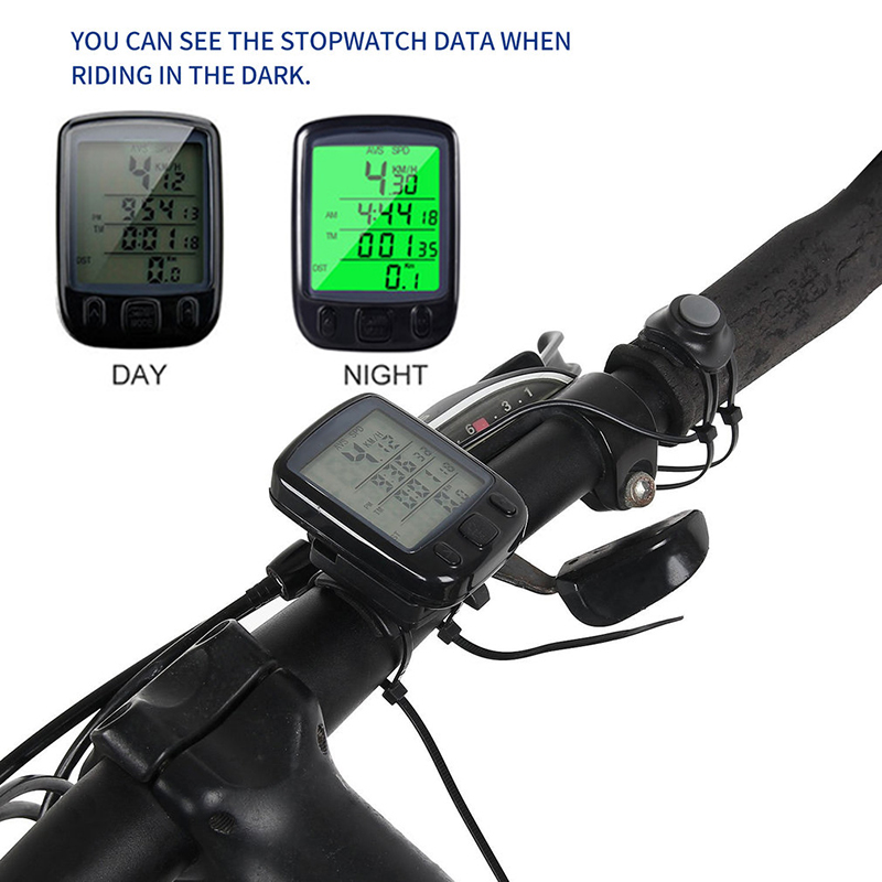 Professional Multifunction Bike Bicycle Cycling Computer Odometer Speedometer Stopwatch LCD Backlight Distance monitor