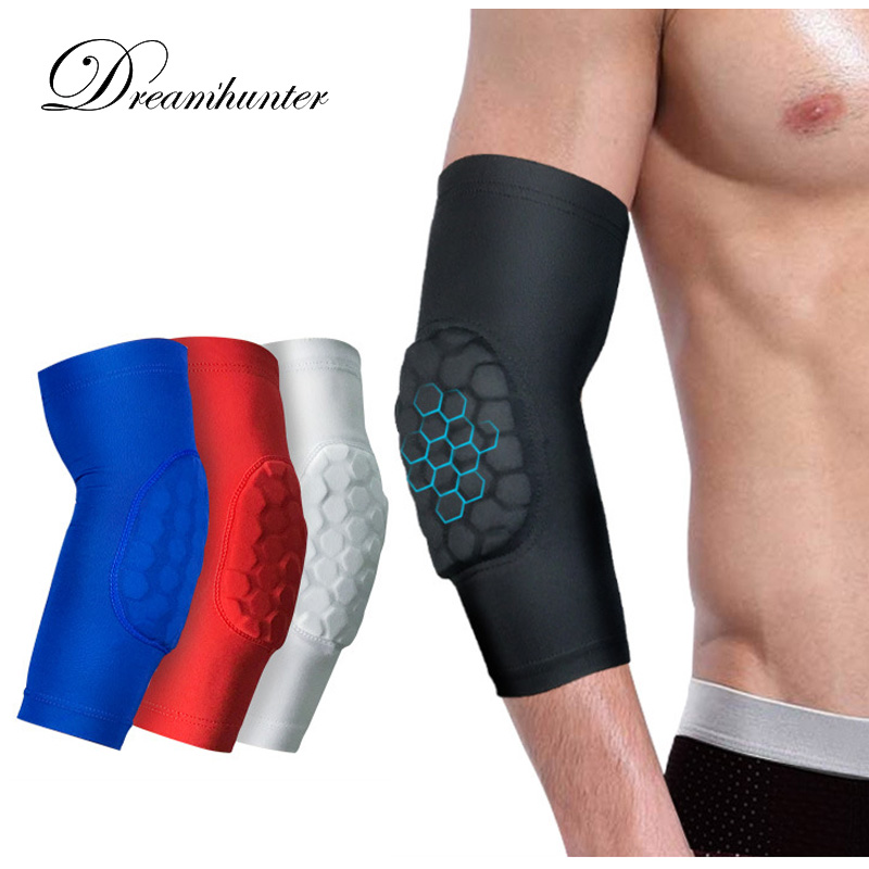 1PCS Elastic Basketball Elbow Pads Volleyball Arm Sleeve Crashproof Honeycomb Elbow Support Elbow Protector Guard Sport Safety