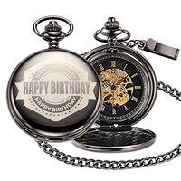 Happy Birthday Pocket Fob Watch Mechanical Necklace Watch montre Vintage Antique Chain Pendant Watches reloj Steampunk Men Clock