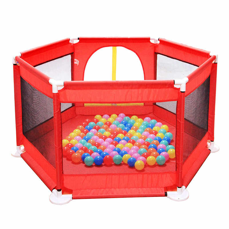 LK79 Ocean Ball Pool Red Six-sided Safety Protection Toddler Kids Fence with piezas 100 PCs Balls Thicken Oxford Cloth + malla barrera