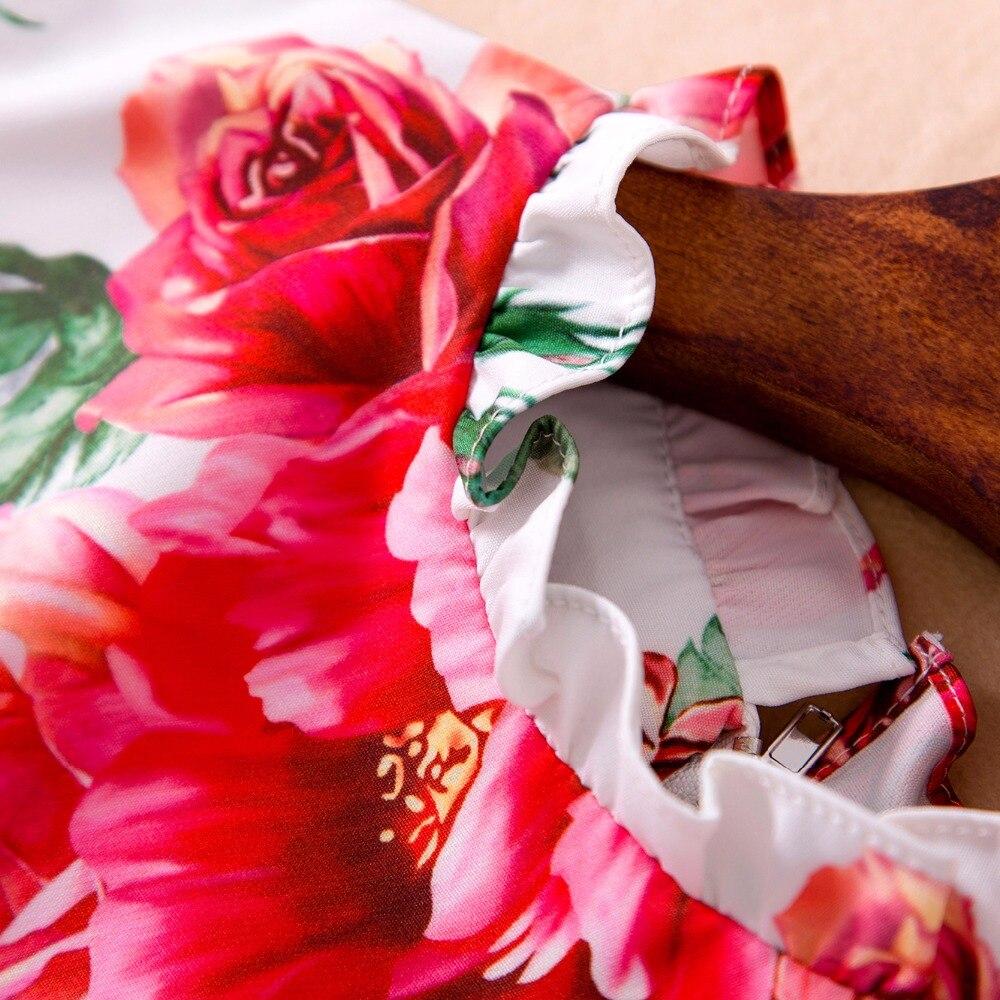 ligne Volants Manches Taille Imprimer Robe À Nouvelle 2018 Élégant D'été A Femmes Plus Custom Ruches Arrivée Genou Sans Du Dessus pnwv7685x
