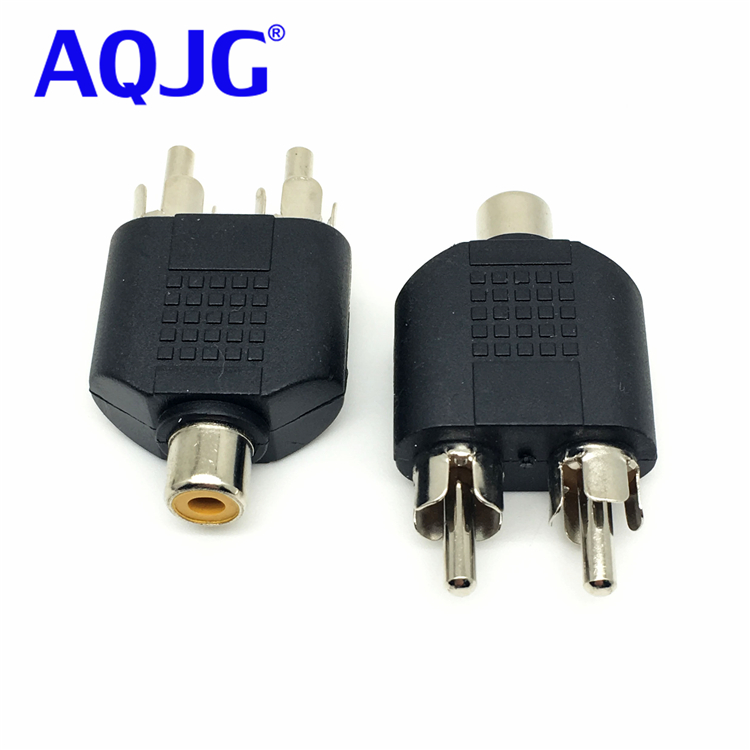 1pcs RCA Female to 2 RCA male Y Splitter Audio Adapter plugs seat RCA to double lotus female 2RCA audio adapter connector AQJG 3 5mm female to 2 rca male audio cable