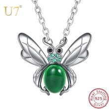 U7 925 Sterling Silver Insect Pendant Necklace Rolo Chain Choker Green Natural Chalcedony Animal Jewelry For Women Girls SC175(China)