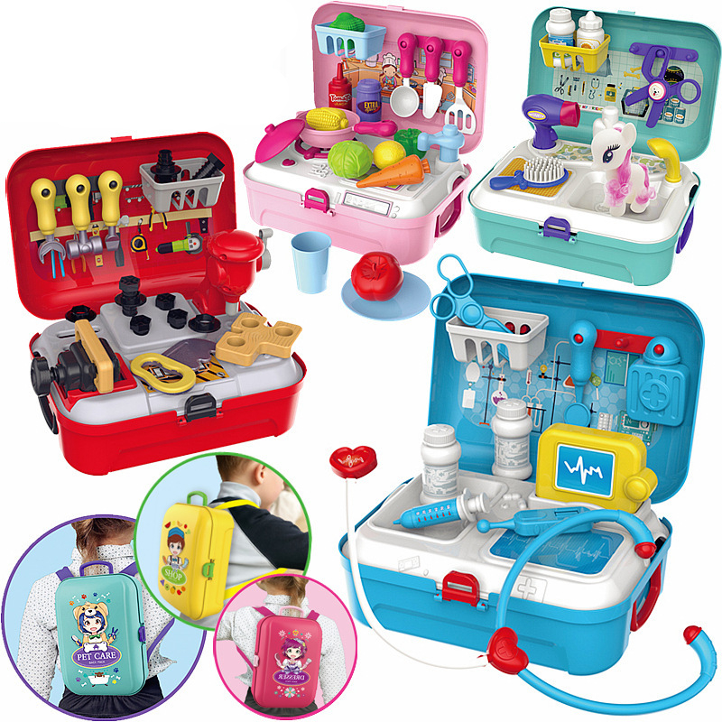 1:2 Simulation Children's Play House Backpack Box Kitchen Cutlery Makeup Jewelry Kit Supermarket Pet Toy Set