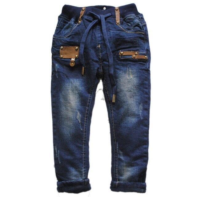 6026 прямые зимние брюки джинсы дети мода теплый флис и джинсовые мальчики брюки 2016 новый толстые двухэтажный мальчик джинсы брюки