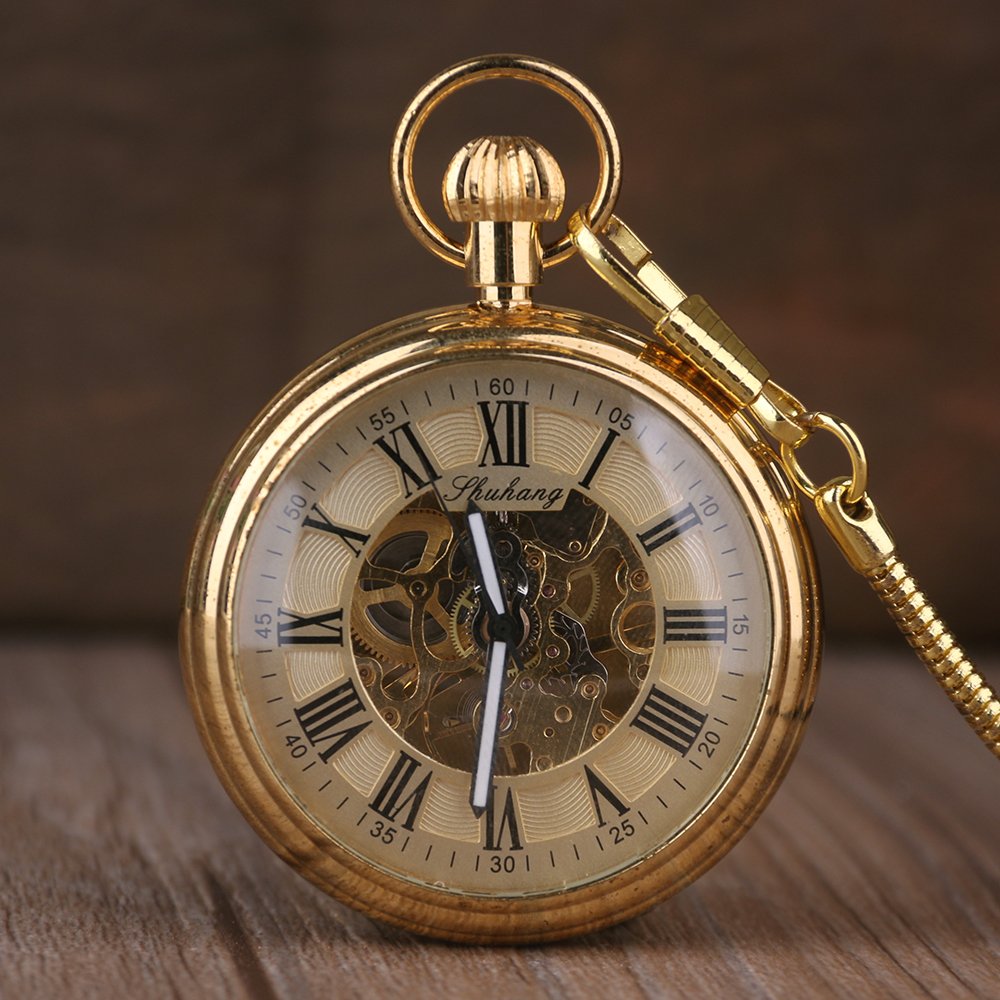 Luxury Gold Elegant Carving Open Face Pocket Watch Chain Women Men Mechanical Hand Winding Roman Numbers Gift Fob Clock retro silver roman numbers skeleton men pocket watch hand winding mechanical fob watches chain vintage double open clock gift
