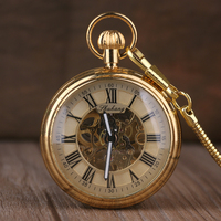 Luxury Gold Elegant Carving Open Face Pocket Watch Chain Women Men Mechanical Hand Winding Roman Numbers Gift Fob Clock