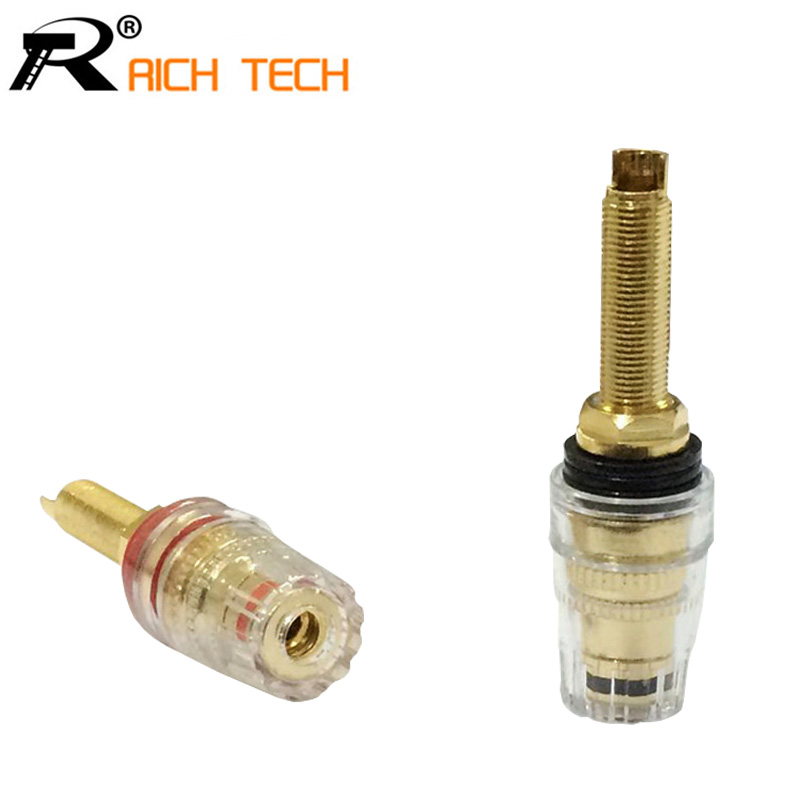 Terminals Black & Red Thread Gold Plated Audio Speaker Binding Post Banana Plug Terminals quality Audio Connector Wholesale 2pcs 2pcs 4mm banana plugs gold plated speaker connector adapter audio wire connector 1pair black