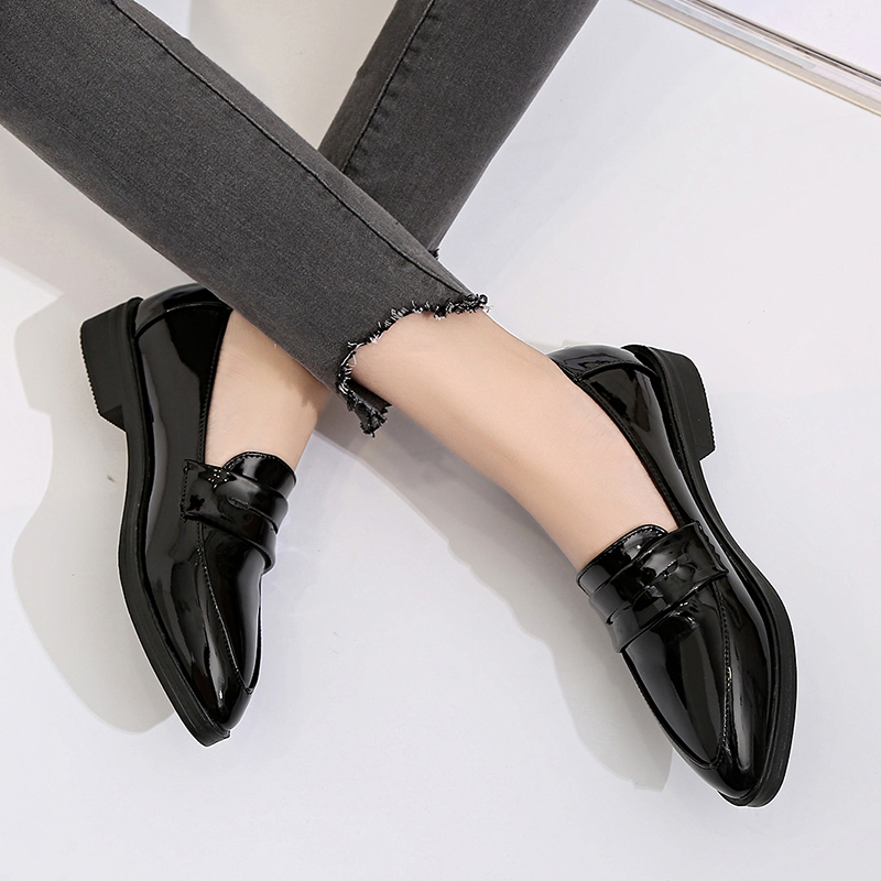 British Style Oxford Shoes For Women Flat Shoes Woman Flats Pointed Toe Leather Creepers Platform Ladies Shoes Zapatos De Mujer