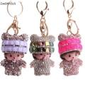 10PCS/Lot Rhinestone Panda Girls MON key chain metal bag ornaments car pendant wholesale Gift