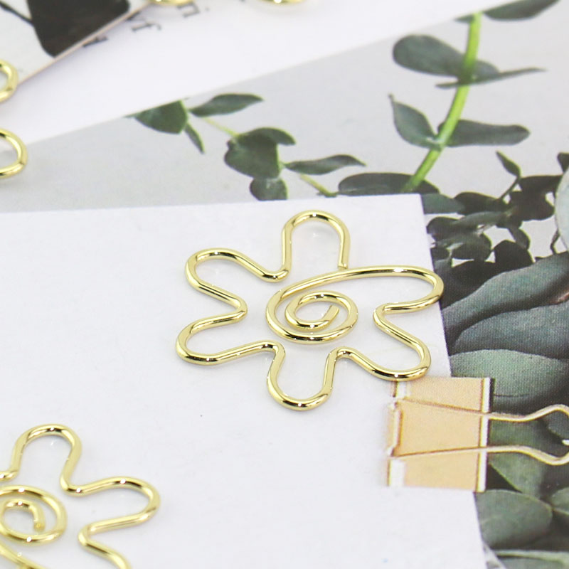 15pcs/set Cute Gold Flower Metal Material Bookmark Paper Clip School Office Supply Escolar Papelaria Gift Stationery