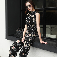 High quality summer new fashion sleeveless jumpsuit ladies floral printed chiffon jumpsuits