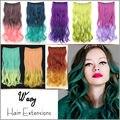 50 cm 120g Ondulado Longo Onda Grampo em Extensões Do Cabelo Ombre Rainbow color Mulheres Grampo Na peruca Sintética