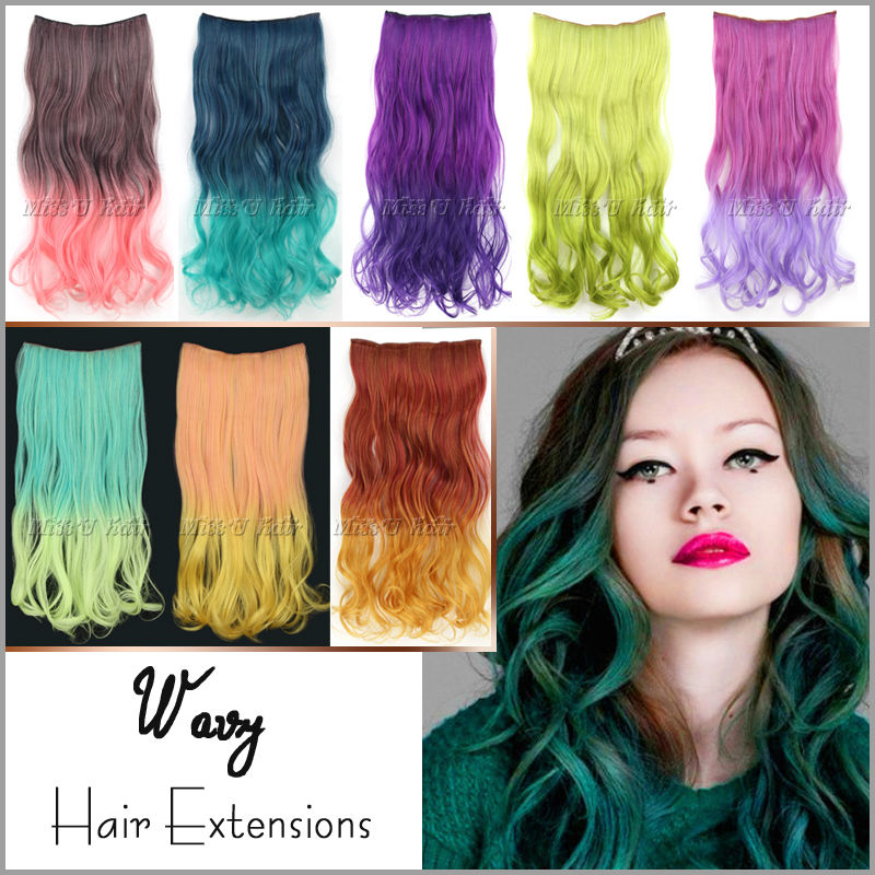 50cm 120g Long Wavy Curl Clip In Hair Extensions Ombre Rainbow Color