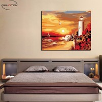 OKHOTCN Diy Oil Painting By Numbers On Wall Acrylic Ocean Modular DIY Digital Oil Painting Framed