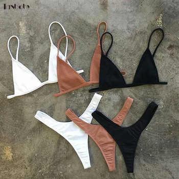 Brazilian Girls Swimming Suits Bikini Small Cup+ High Cut Style Beach Biquini Solid Black/White Micro Swim Suits Thong Bikinis - DISCOUNT ITEM  25% OFF All Category