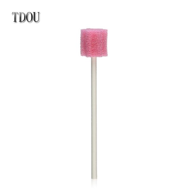 TDOU100Pcs de Rosa Desechable Hisopo De Esponja para la Clínica Oral Limpieza Uso envío gratis