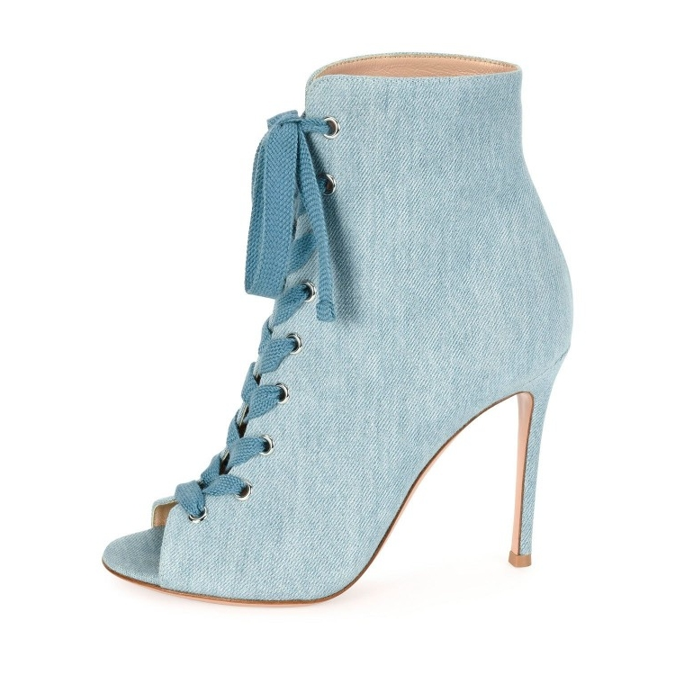botas feminina blue peep toe sexy high heels ankle boots for women lace up sapato feminino Cowboy boots stiletto schoenen vrouw women shoes scarpe donna elastic boots botines mujer sapato feminino round toe chaussure femme schoenen vrouw over knee boots