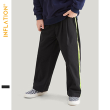 INFLATION Children Clothes Boys Sweatpants 100% Cotton Side Stripe Bottoms Pants For Girls Loose Straight Sport Trousers 19921A