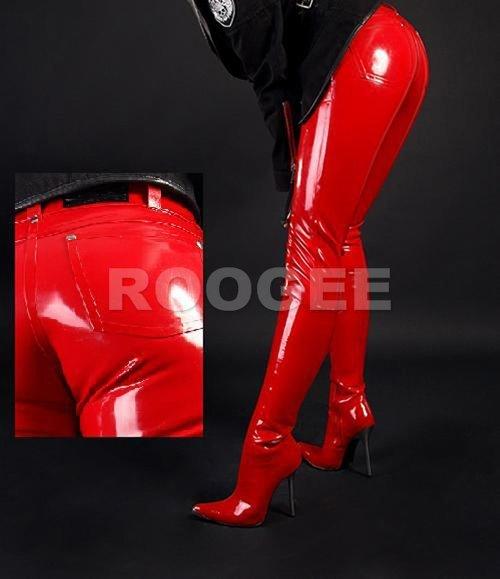 Взрослый резиновые длинные брюки женские латексные джинсы (латекса quanlity)