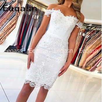 New Cocktail Dress 2020 Off Shoulder Lace Applique Sexy Sweetheart Knee Length robe de cocktail courte Semi Formal Party - discount item  42% OFF Special Occasion Dresses