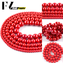 Natural Red Coral Stone Round Loose Beads 4/6/8/10/12mm Spacer Beads For Jewelry Making DIY Bracelets Necklace Accessory 15