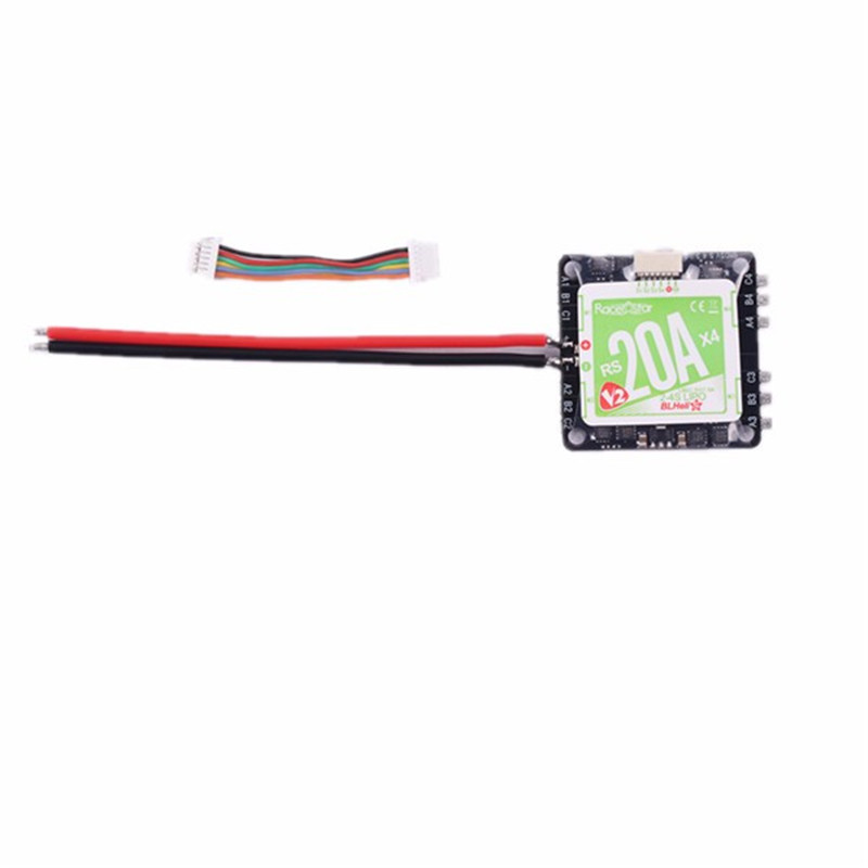 ФОТО New Arrival  Racerstar RS20Ax4 V2 Blheli_S 20A 2-4S 4 in 1 ESC D-Shot in Default With 5V LBEC For FPV Racer