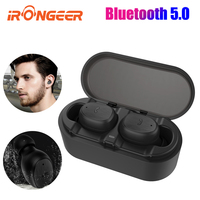 IPX7 waterproof TWS 5.0 wireless earphone Bluetooth earbuds for play video games sports headsets with dual mic & charging case