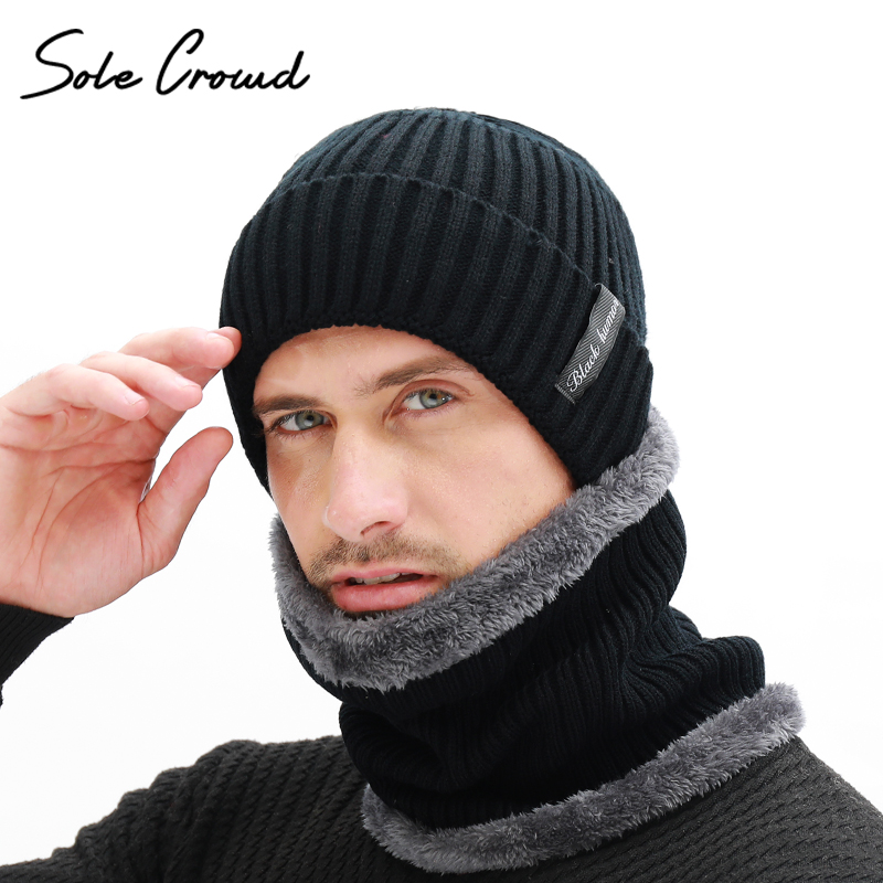 Sole Crowd Winter Men's Scarf Knitted Hat Set Mask Warm Caps Plus Velvet Thick Hats For Men Skullies Beanies Women Cap Bonnet