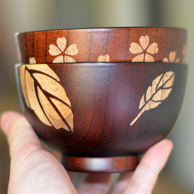 Natural Wooden Bowls LeafFlower Pattern Jujube Wood Kitchen Rice Soup Bowls Kids Food Coontrainer Heat Resistant Wood Utensils (6)