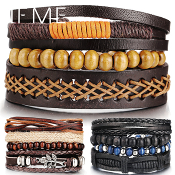 IF ME Wood Bead Male Multilayer Leather Men Braided Rope Wrap Bracelets Bangles