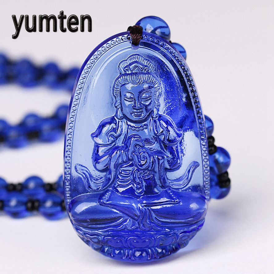 Yumten Kyanite Necklace Pendant Natural Stone Buddha Guardian Bead Chain Lucky Gift Crystal Carved Fine Women Jewelry Men Qualit