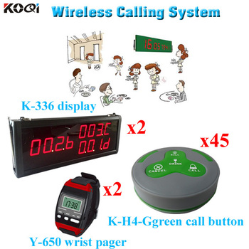 Order Calling System Wireless Restaurant Table Buzzer Smart Watch Equipment (2 display 2 wrist watch 45 call button)