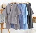 Мужчины Японский Стиль Кимоно Пижамы Установить Хлопок Топ Рубашка Брюки Костюм Мягкая Удобная Свободная Посадка