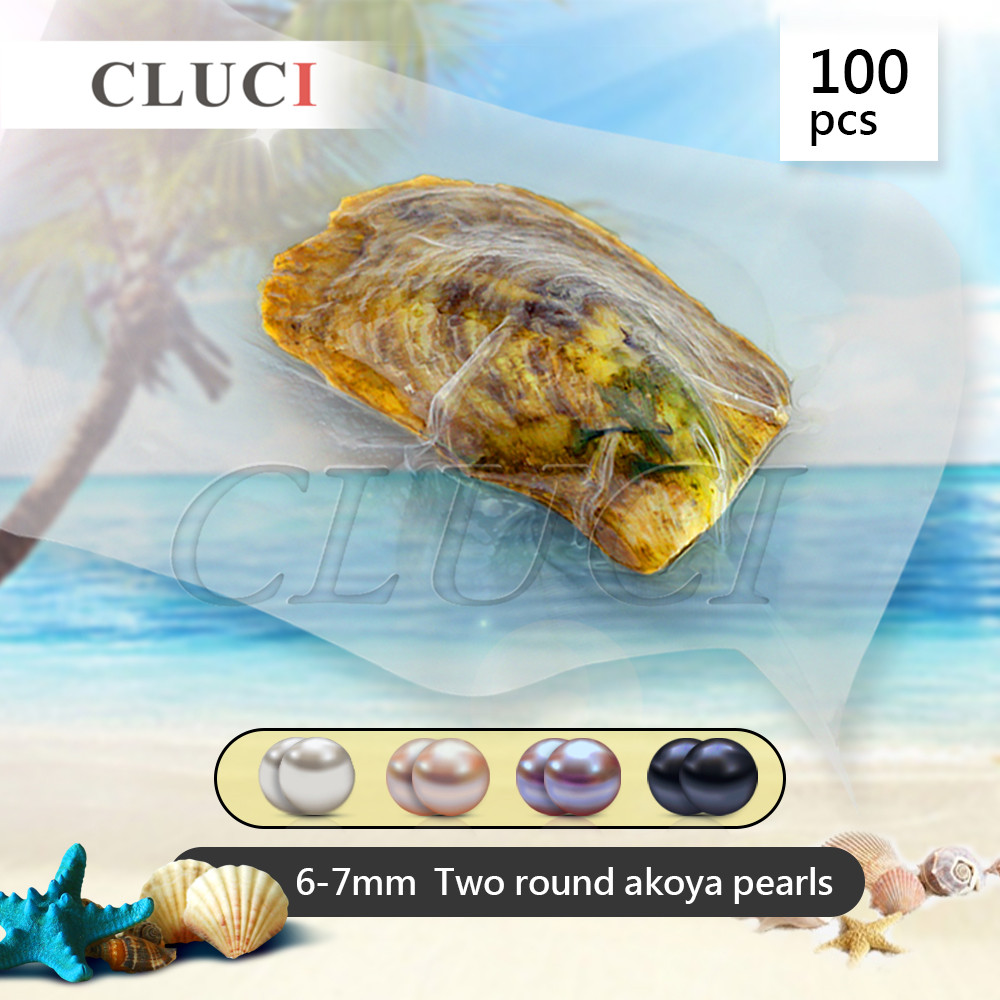 CLUCI wholesale TWINS AKOYA PEARLS OYSTERS 100PCS/LOT, 200 round Pearls can get, two 6-7mm pearl in each oyster, romantic love 100pcs lot hgtg20n60a4d 20n60a4d in stock