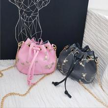 2018 High Quality PU Leather Women Messenger Bag Fashion Shoulder For Teenager Girls Bucket With Appliques 3 Colors