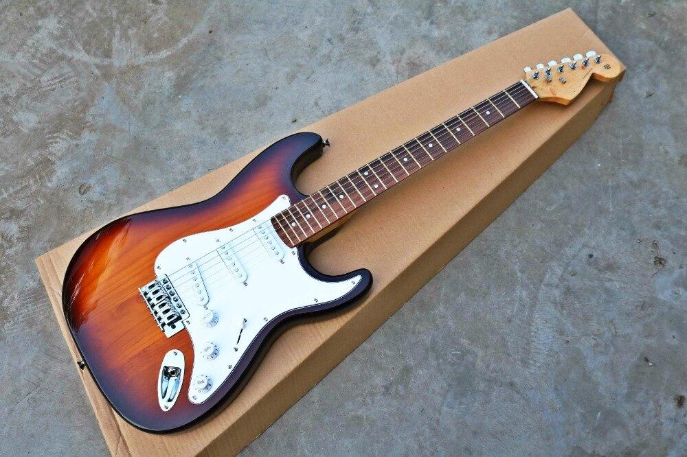 Haute Qualité GYST-1020 3TS couleur avec perle blanc plaque solide Fortune paulownia bois corps Guitare Électrique, Livraison gratuite