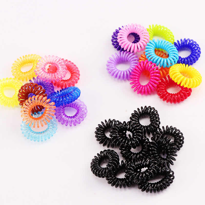 10PCS/Lot New 2cm Small Telephone Line Hair Ropes Girls Colorful Elastic Hair Bands Kid Ponytail Holder Tie Gum Hair Accessories