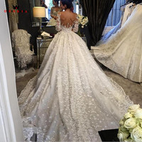 Ball Gow Lace Beading High Neck Bride Wedding Dresses Wedding Gowns Marriage Vestido De Noiva Bridal Gowns Good Quality DR28