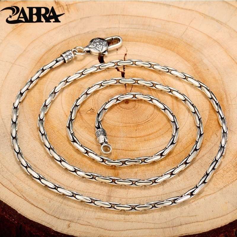 ZABRA Vintage Solid 925 Sterling Silver High Polished Long Link Chain Necklaces For Men Retro Thai