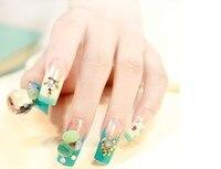 24pcs/set Diamonds Design False Nails French Nail Tips Faux Onlges High Quality UV Gel Fake Nail Tips Free Glue