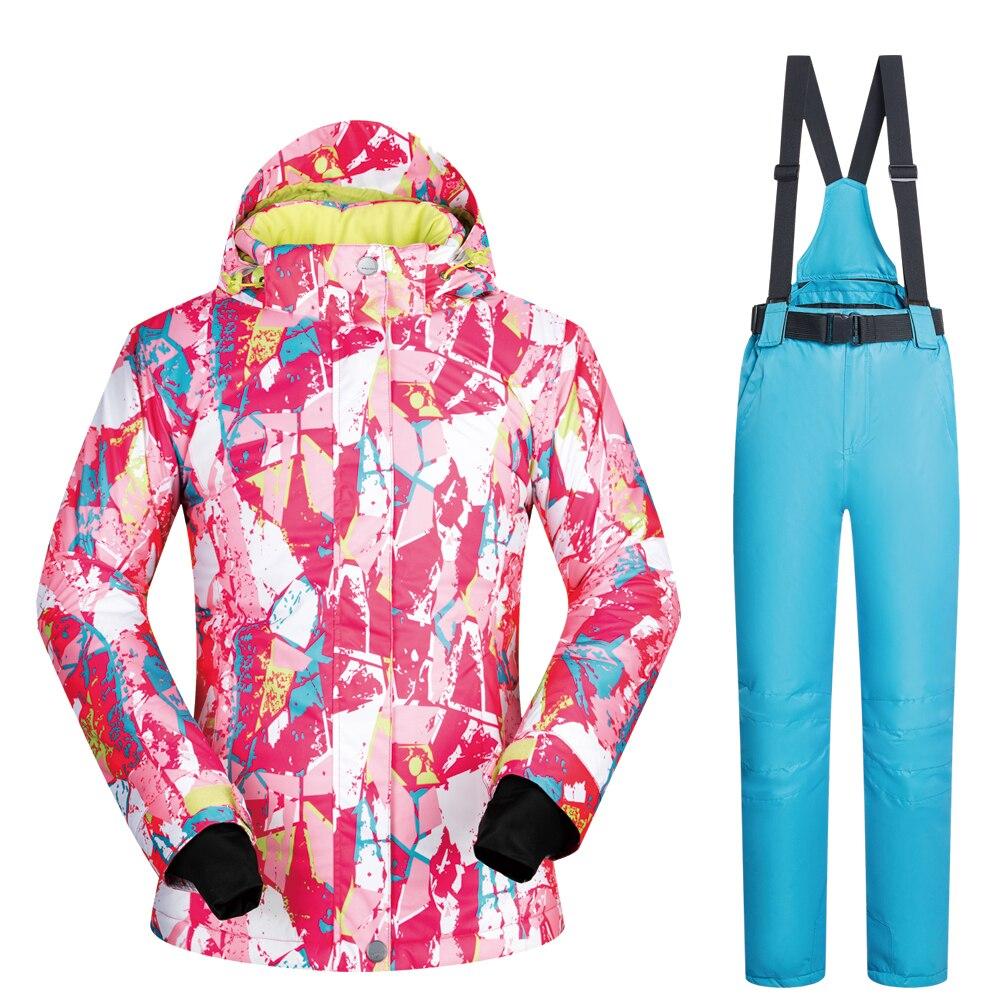 Snowboard costumes femmes 2019 nouveau ensemble sous-vêtements en plein air Ski ensemble neige femme coupe-vent imperméable hiver femmes veste de Ski marques - 3